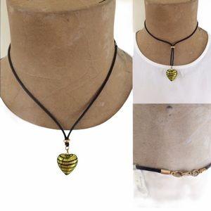 Murano Glass Heart necklace Gold Black